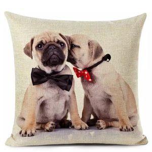Pug Puppy Dog Linen Accent Pillow Case Cover